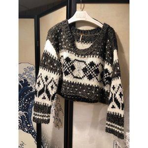 Free People Fair-isle Cropped Sweater
